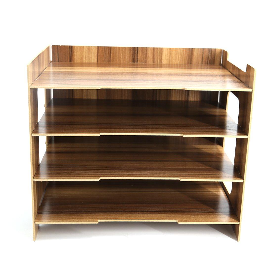 PeleusTech® 4 Layers Wood Storage Rack Durable Office Organization for File Desktop Organizer Shelf for Books Documents - (Dark Wood Grain)