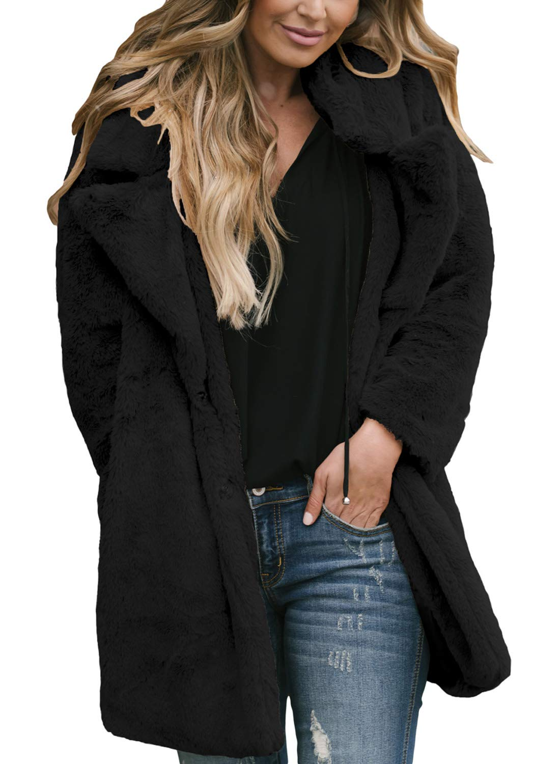 Asvivid Womens Soft Fall Fluffy Long Sleeve Open Front Lapel Shearling Shaggy Ladies Jacket Coat Outerwear M Black