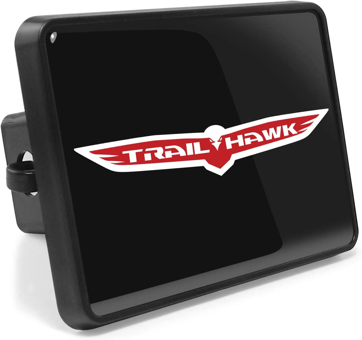 iPick Image for Jeep Trailhawk UV Graphic Black ABS Plastic Tow Hitch Cover