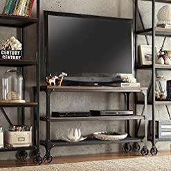 Farmhouse Living Room Furniture ModHaus Living Modern Industrial Rustic Riveted Black Metal & Wood TV Stand with Decorative Wheels – Includes (TM) Pen… farmhouse tv stands