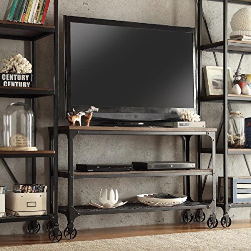ModHaus Living Modern Industrial Rustic Riveted Black Metal Wood TV Stand with Decorative Wheels – Includes TM Pen 65