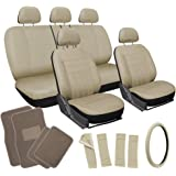 OxGord 21pc Flat Cloth Seat Cover and Carpet Floor Mat Set - Car, Truck, SUV, Van - Airbag Compatible, Split Bench, Steering Wheel Cover Included - Tan