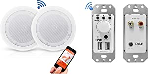 "Pyle Pair 8"" Bluetooth Flush Mount in-Wall in-Ceiling 2-Way Universal Home Speaker System Spring Loaded Polypropylene Cone & Bluetooth Receiver Wall Mount - in-Wall Audio Control Receiver"
