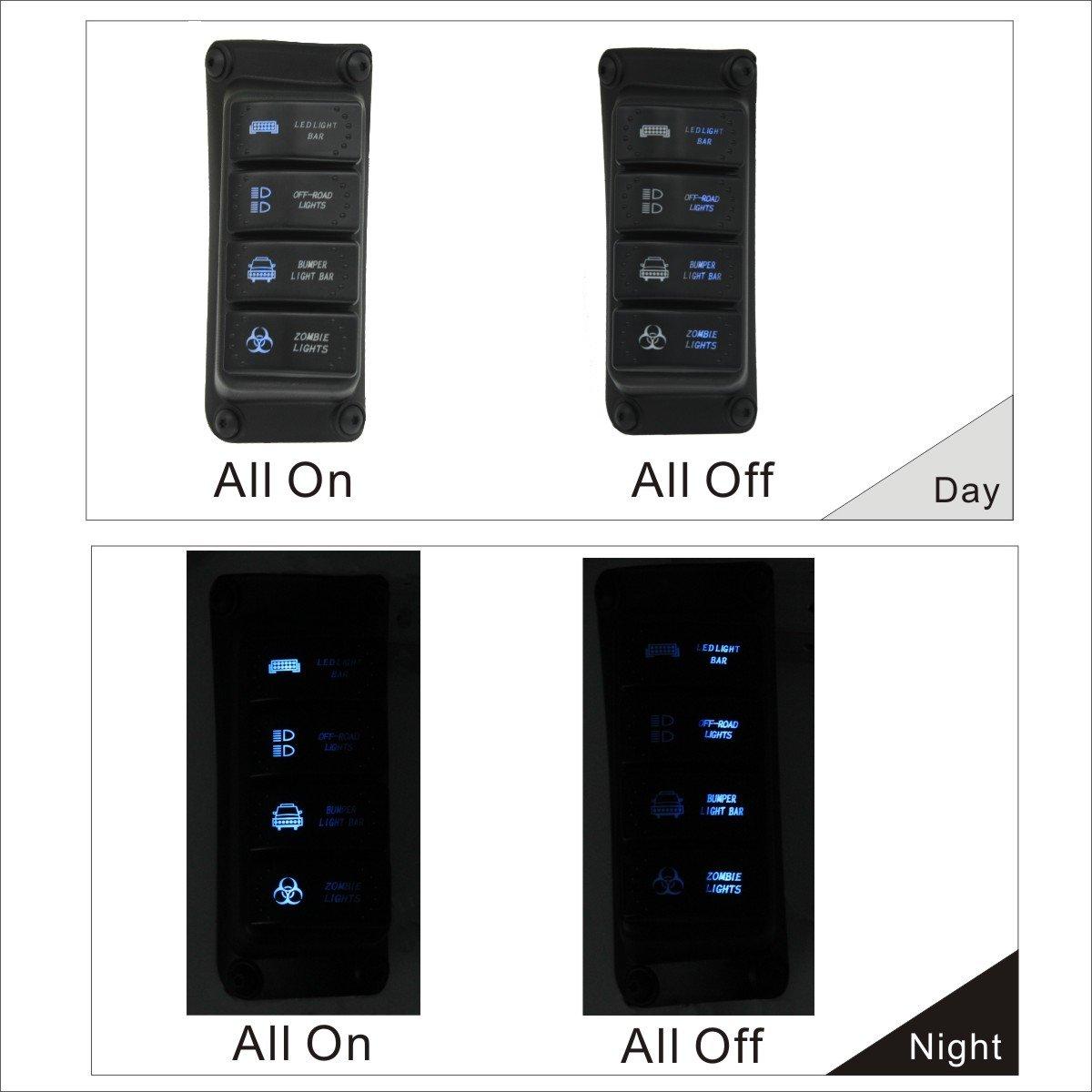 Apollointech Left Side A Pillar 4 Switch Pod Panel 2014 Wrangler Fuse Box Source Control System Fit Jeep Jk Jku 2007 2017 Blue Back Light