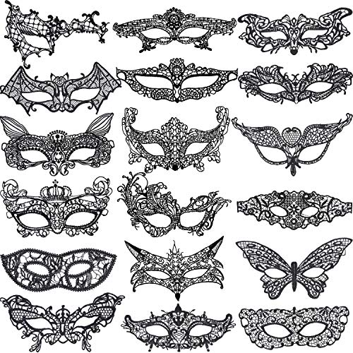 Hestya 18 Pieces Black Lace Mask Women Eyemask Masquerade Venetian Lace Mask