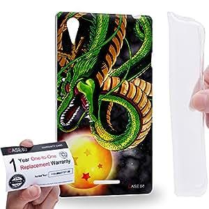 Case88 [Sony Xperia T3 D5103/D5106/D5102] Gel TPU Carcasa/Funda & Tarjeta de garantía - Dragon Ball Z GT AF Son Goku Super Saiyan God Dragon & Dragon Ball 0615