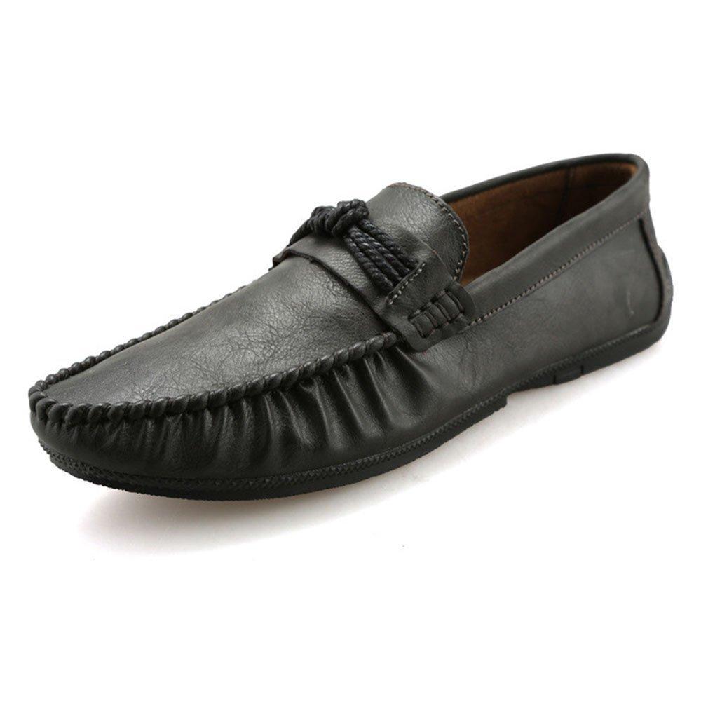 Zapatos de Cuero de Ocio de Negocios Zapatos de tacón Plano de Hombres 40 2/3 EU|Gris Oscuro