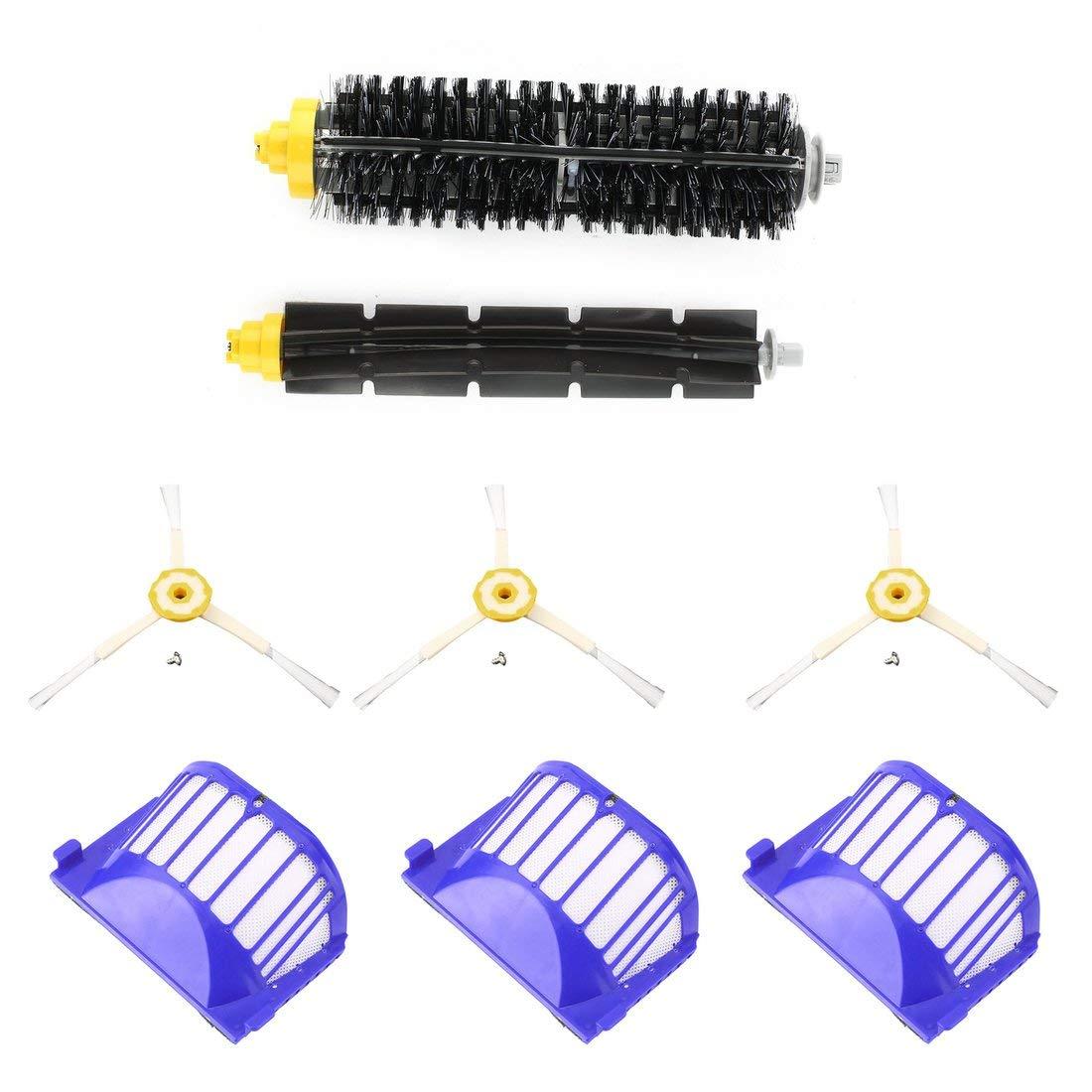 Spazzola di ricambio per robot di pulizia 3 pezzi Spazzola di ricambio per filtri detergente 3 pezzi Set di spazzole di ricambio per Roomba 620 630 650 660 Formulaone