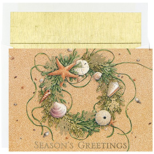 Masterpiece Studios Warmest Wishes Beach Wreath Greetings, 18 Cards/Foil Lined Envelopes (4823)