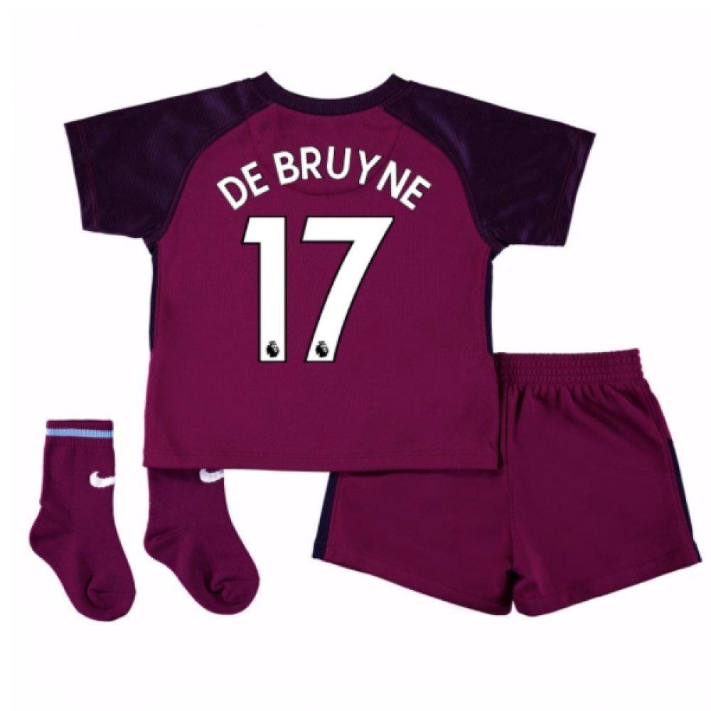 UKSoccershop 2017-18 Man City Away Baby Kit (Kevin De Bruyne 17)