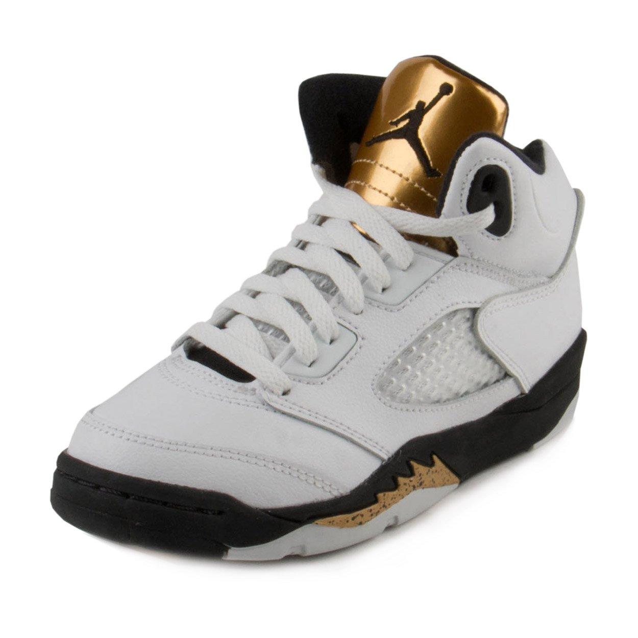 Nike Baby Boys Air Jordan 5 Retro BG ''Olympic Gold'' White/Black-Gold Leather Size 10.5C