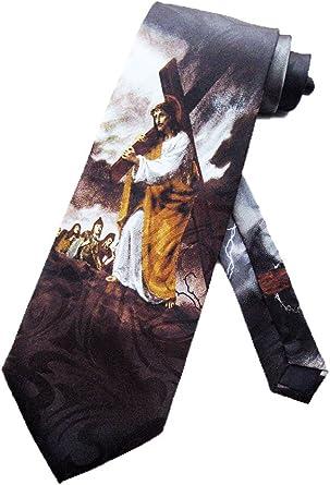 Steven Harris Hombres Jesús lleva el Cruz Corbata – Negro – Talla ...