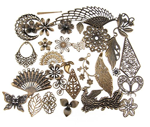 - ALL in ONE Mixed Antique Bronze Filigree Charm Pendant Jewelry Findings: 50g