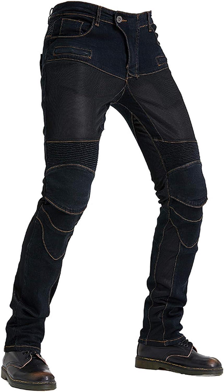 BEDSETS Pantalones De Motociclismo Para Hombres, Motocross, Con Pantalones, Antideslizantes, Vaqueros De Motociclista, 4 Tipos De Equipo De Protección (Negro,XXXL)