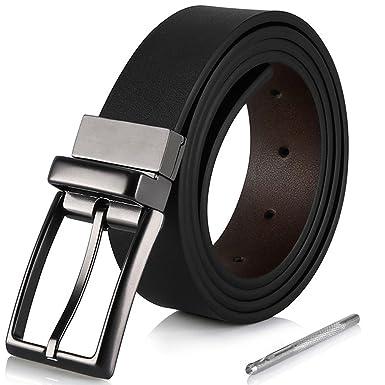 Ajudy Ledergürtel Herren, Wendegürtel Echt Leder Gürtel Schwarz 35mm breit  Jeansgürtel für Männer mit MetallSchnalle 03b50e73ed
