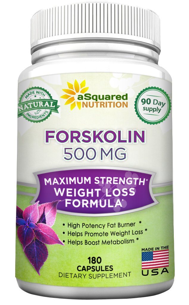 100% Pure Forskolin 500mg Max Strength - 180 Capsules, Forskolin Extract Supplement for Weight Loss Fuel, Coleus Forskohlii Root 20% Forskolin Diet Pills, Belly Buster Fat Burner 2x Slim Trim Lose by aSquared Nutrition