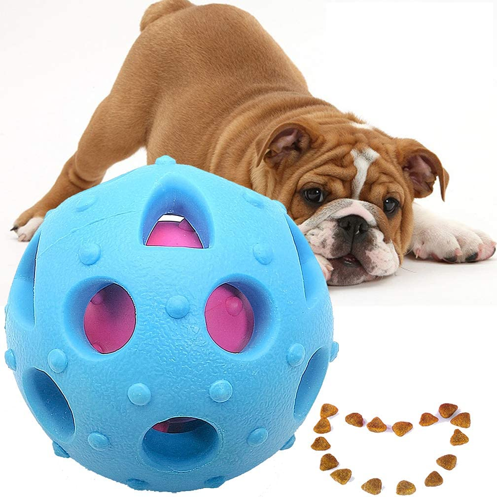 HappyLife Deals Dog Toys Ball IQ Treat Ball Interactive Food Dispensing Toys Durable Chew Ball - Nontoxic Rubber(Blue)