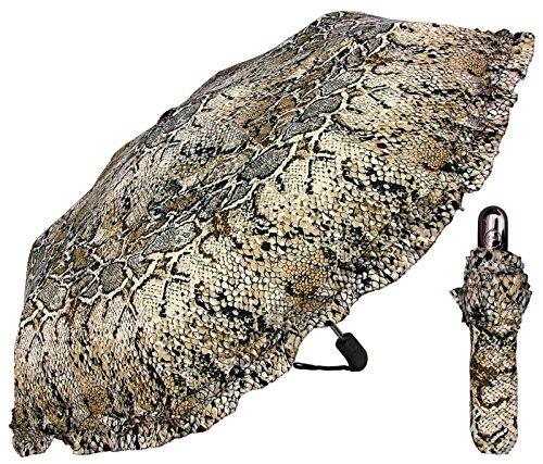 (44 inch) Snakeskin Print - Auto Open Close - Mini Travel Umbrella - by Adjore (Print Tote Snakeskin)