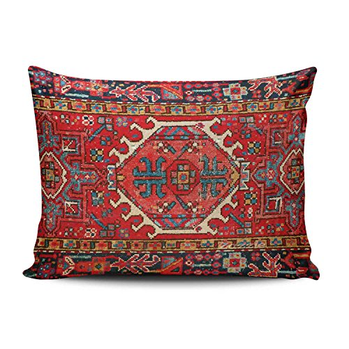 Hoooottle Custom Beauty Design Colorful Antique Oriental Turkish Carpet Standard Pillowcase Rectangle Zippered One Side Printed 20x26 Inches Throw Pillow Case Cushion Cover ()