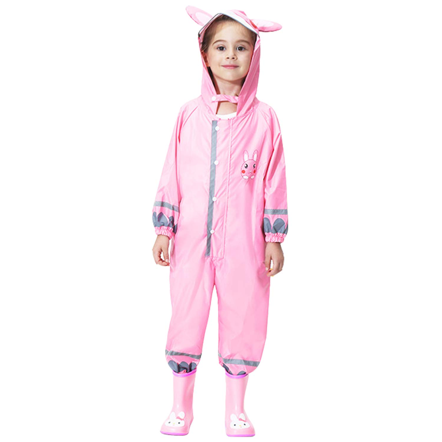 Kids Button Rain Suit All-in-one Waterproof Puddle Suits Hooded Raincoat Jumpsuit EM6700