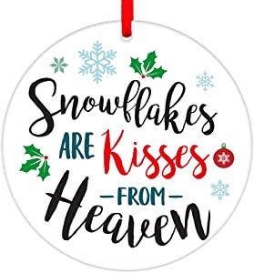 "PETCEE Christmas in Heaven Ornaments 3"" Snowflakes are Kisses from Heaven Christmas Ornaments Memorial Christmas Tree Ornaments Decorations Sympathy Gifts for Families Friends"