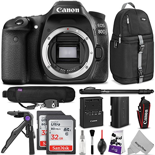 Canon EOS 80D DSLR Camera Body w/ Advanced Photo and Travel Bundle