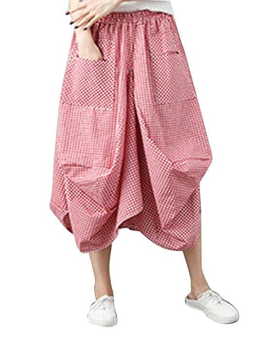 DianShaoA Mujeres Vintage Faldas Étnicas Largas Irregular Falda ...