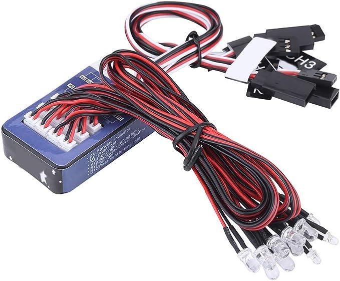 Lámpara del coche de 12LED RC, luces del simulación del kit del sistema de iluminación Tamiya para 1/10 1/8 RC coche / camión / correa eslabonada