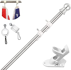 TALITARE Flag Pole with Bracket,5FT Flagpole Kit American Flag with Pole Holder Mounting Bracket Stainless Steel Heavy Duty for Garden Yard Truck Boat Rustproof(Flag Pole with White Bracket, 5FT)