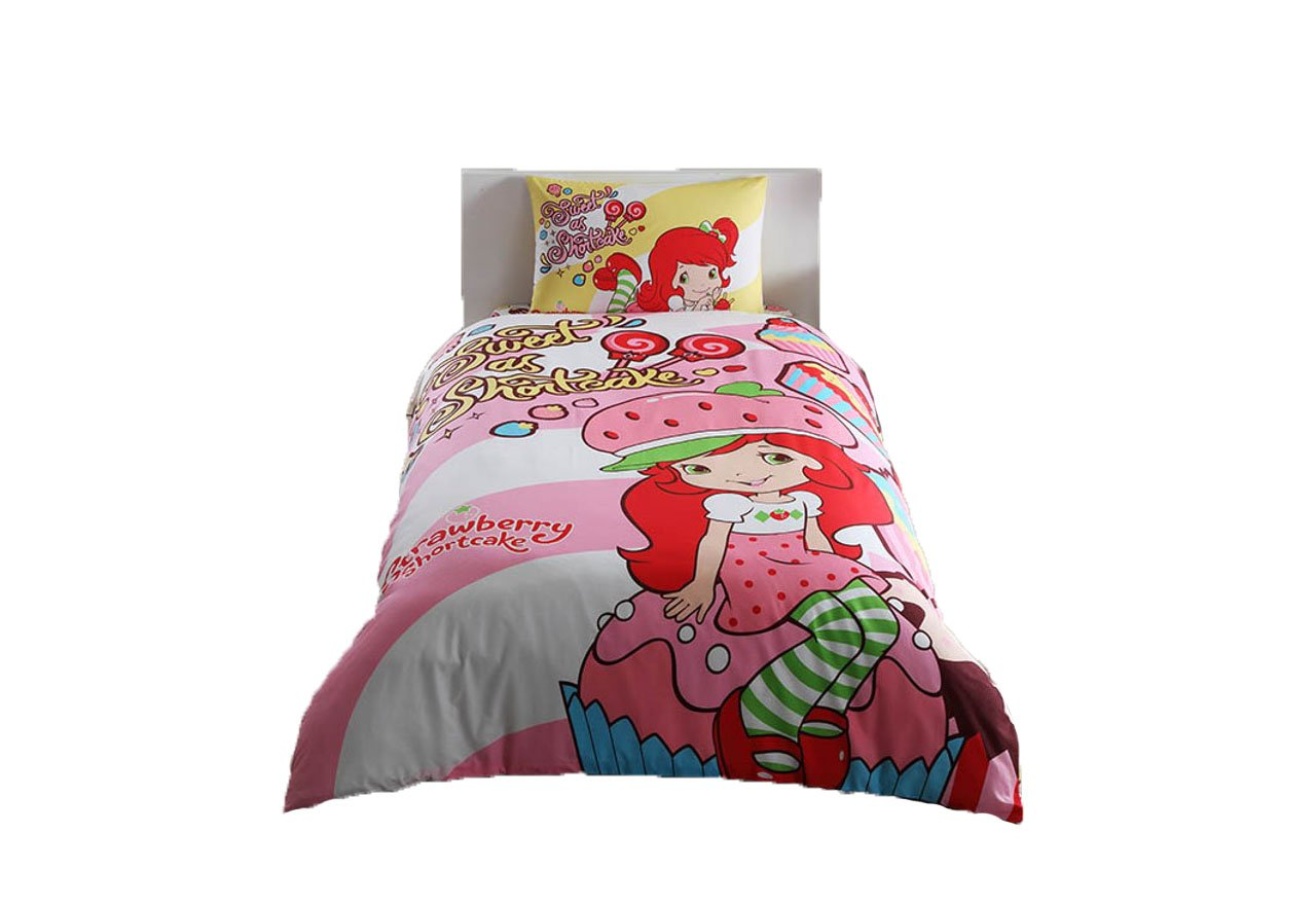 COMFORTER SET Strawberry Shortcake Girl's Kid's Single / Twin Size Comforter Cover Set+++White Microfiber Comforter(Look 2.Image)Kids Bedding 4 Pcs