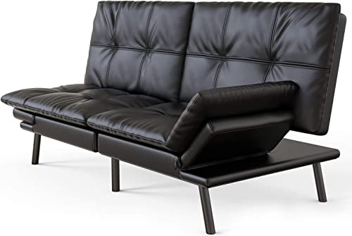 Futon Sofa Bed Memory Foam Couch Sleeper Daybed Foldable Convertible Loveseat Black