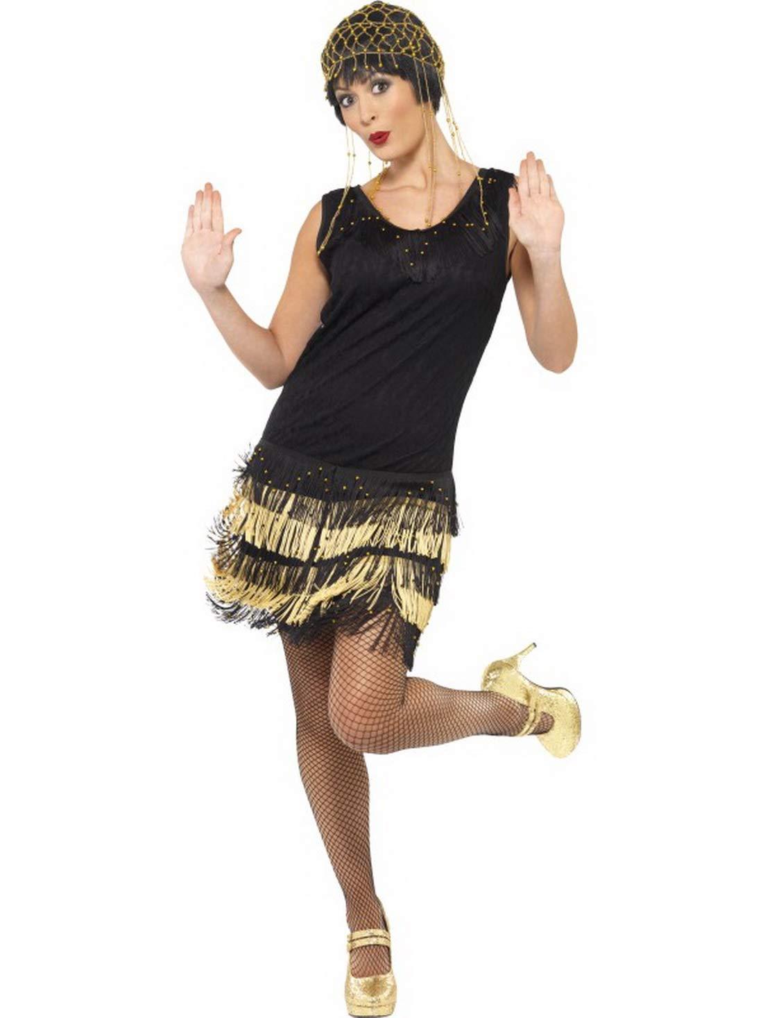 Luxuspiraten - Damen Frauen Flapper Kostüm im Jahre 20er Jahre im Swing Stil mit kurzem Stufen-Kleid mit Fransen Spitzenfront und Perlen, perfekt für Karneval, Fasching und Fastnacht, M, Schwarz 78474a