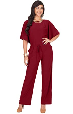 5e130eb75ab2 Amazon.com  KOH KOH Womens Short Sleeve Long Pants Suit Jumpsuit Playsuit  One Piece Romper  Clothing