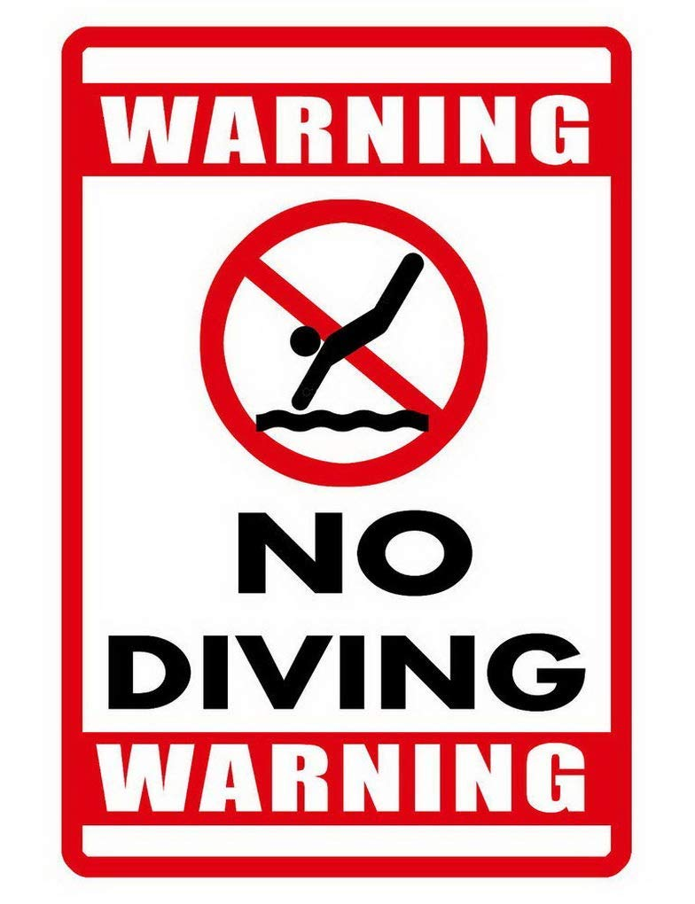 Dozili No Diving Sign Durable Metal Signs Never Rust Swimming Pool Sign 12'' x 18'' by Dozili