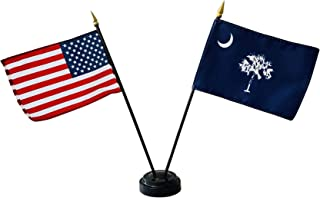 product image for Set of 3 4x6 E-Gloss South Carolina Stick Flag w/U.S. Stick Flag & 2 Flag Plastic Table Base - Made in The USA