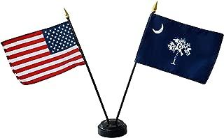 product image for Set of 12 4x6 E-Gloss South Carolina Stick Flag w/U.S. Stick Flag & 2 Flag Plastic Table Base - Made in The USA