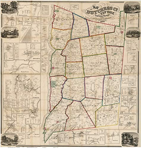 Dutchess County New York 1858 - Wall Map with Homeowner Names - Old Map Reprint (Great Hyde Wall Park)