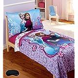 Disney Frozen Toddler Bedding Set + Bonus Home Style Brand Sleep Mask For Parents! (5 Piece Bedding Bundle)