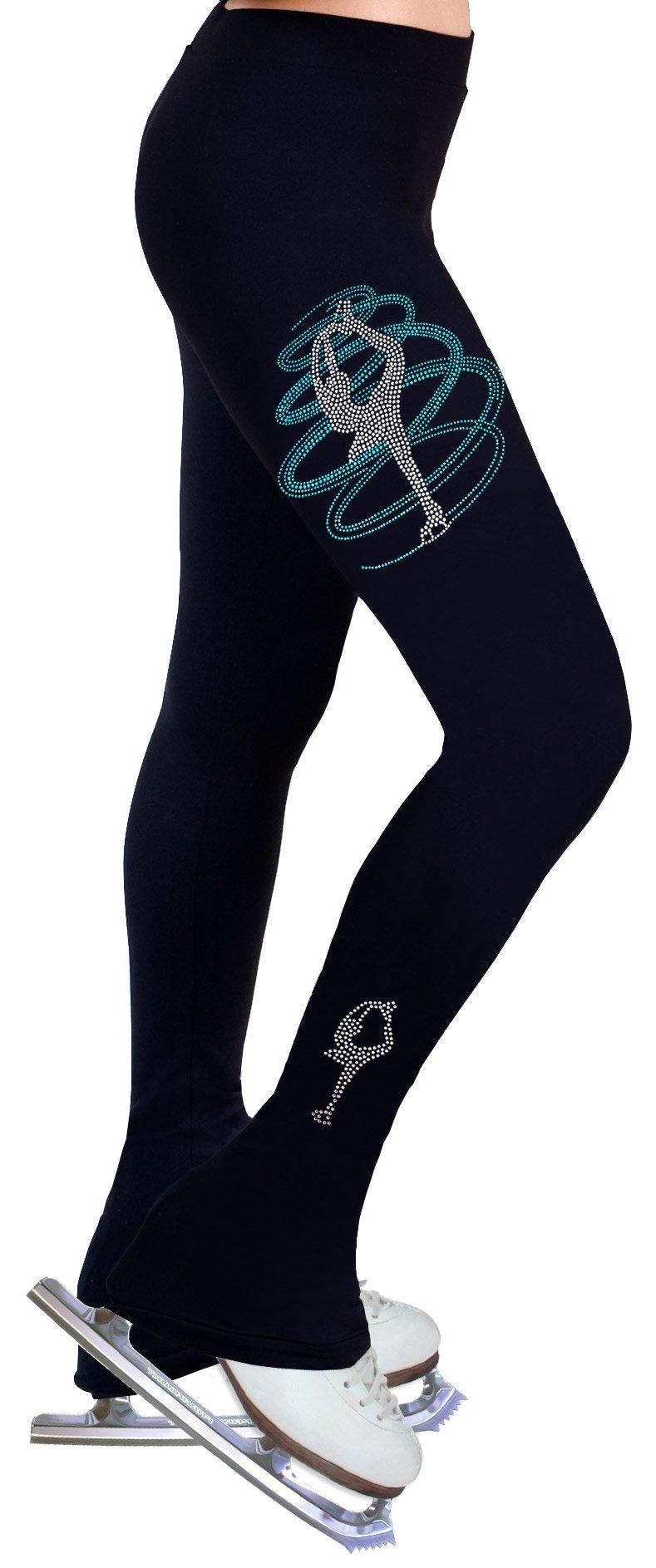 NY2 SPORTSWEAR Figure Skating Practice Pants with Rhinestones R255 (Adult Large)
