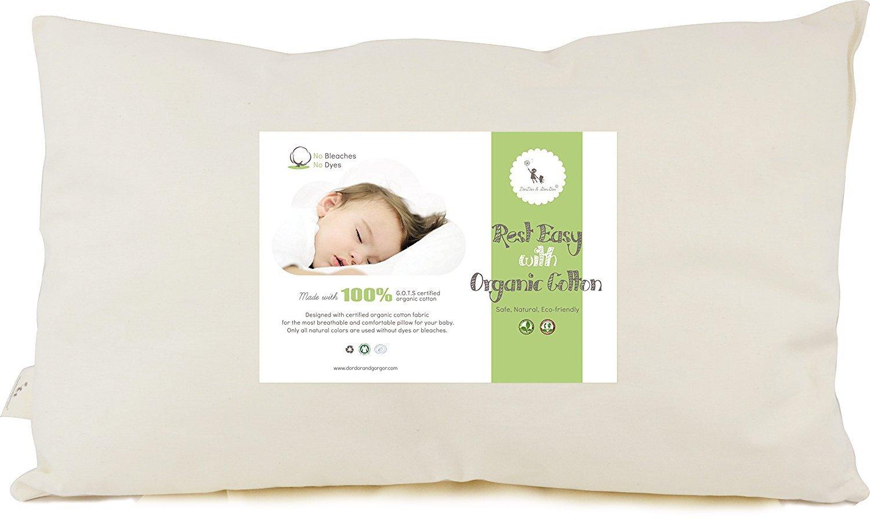 DorDor & GorGor Toddler Pillow, Organic Cotton, Ivory, 13x18 in PILLOW-VE