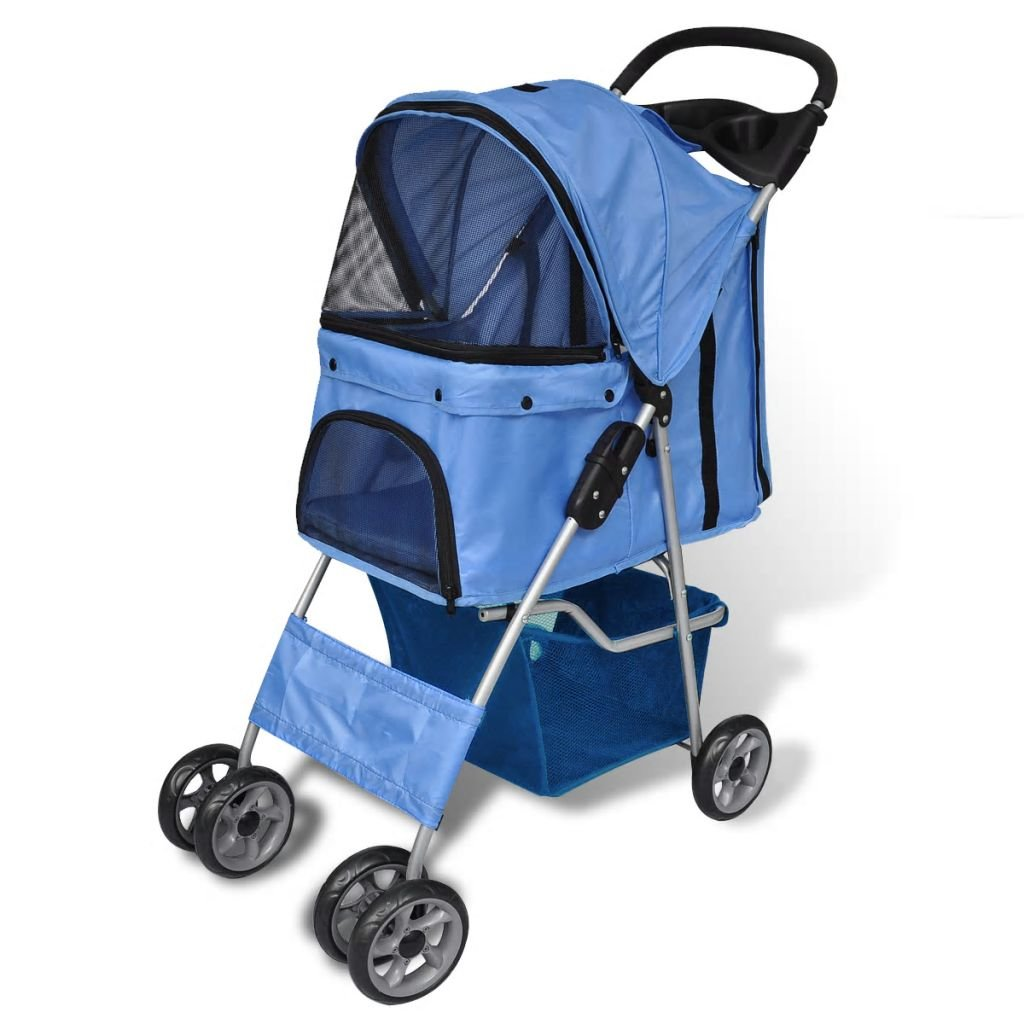 bluee vidaXL Dog Stroller bluee Pet Trolley Carrier Wheel Trailer Travel Transport