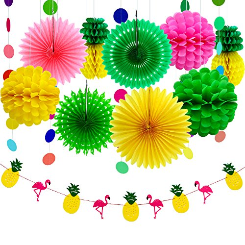 Aneco 11 Pieces Summer Party Decoration Kit Tissue Pineapples Paper Pom Poms Flowers Tissue Paper Fan Polka Dot Paper Garland Flamingo Pineapple Banners for Hawaiian Summer Luau Party for $<!--$12.99-->