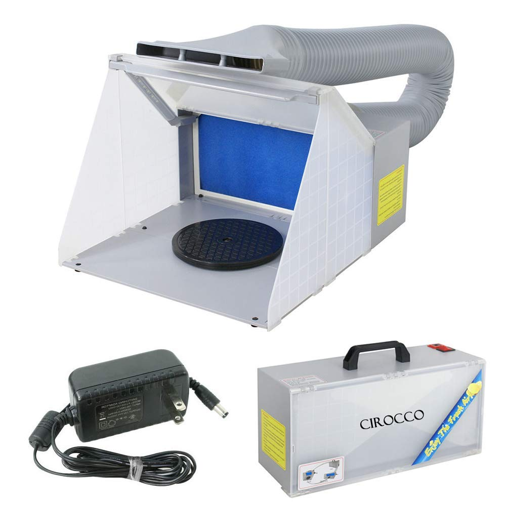 Cirocco Airbrush Spray Booth Kit Set with LED Light & Powerful Odor Extractor Exhaust Fan Filter Turn Table Hose| Portable for Painting Paint Craft Art Hobby Cake Nail Model T-shirt Parts Figurine Toy
