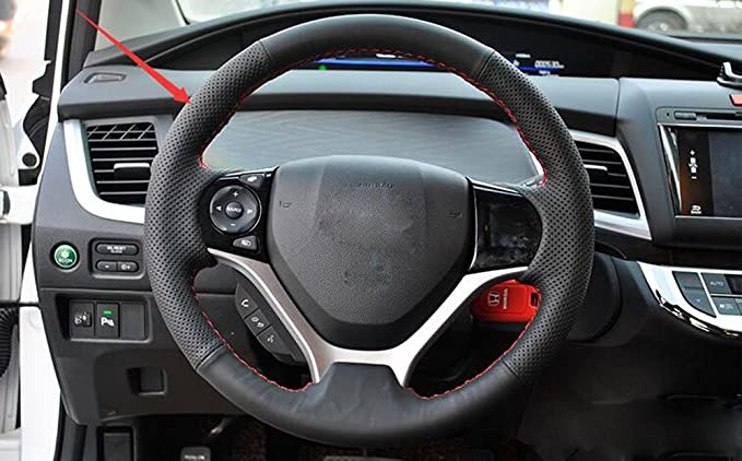 Amazon.com: Salusy Hand Sewing Black Leather Red Thread Steering Wheel Cover For Honda Civic/Civic Coupe 2012-2015: Automotive