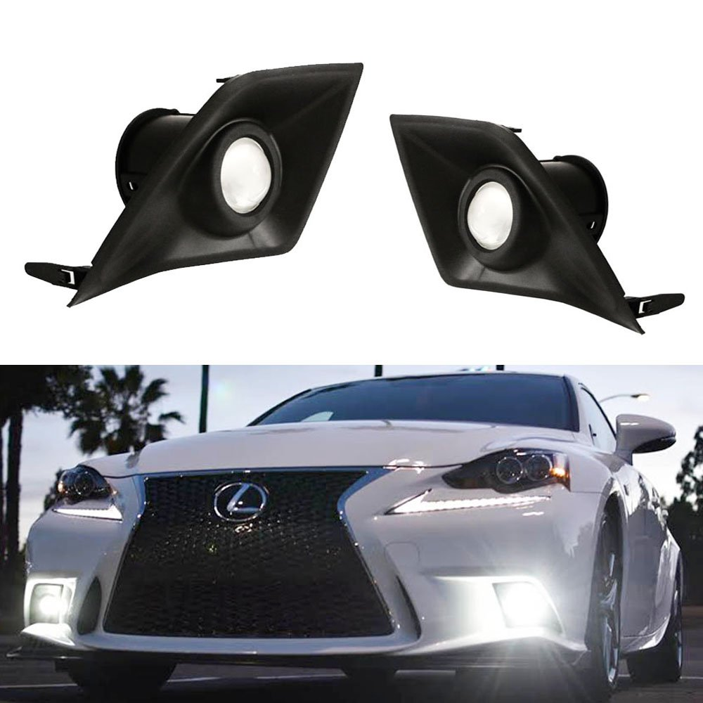 iJDMTOY Lexus F-Sport 15W High Power Projector LED Fog Light Kit For 2014-2016 Lexus IS200t IS250 IS300 IS350, 6000K Xenon White