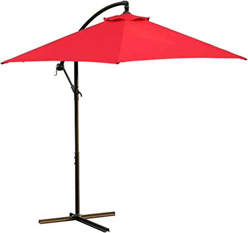 LOKATSE HOME 10 Ft Offset Patio Outdoor Umbrella Cantilever Hanging Market Umbrella Garden Umbrella