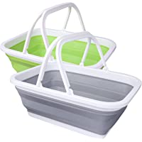 REDCAMP 2 Pack Collapsible Sink with Handle, 2.37 Gal Foldable Wash Basin for Camping, Washing Dishes, Kitchen, Picnic…