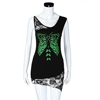 Amazon.com: Yellow Women Sleeveless Shirts and Blouses Butterfly Print Lace Tops Patchwork Sexy Cami Vest: Clothing