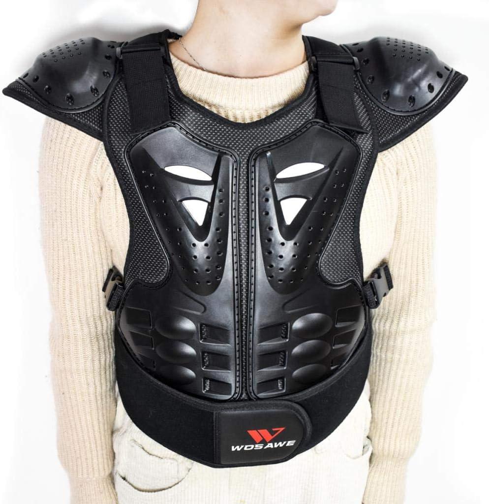 SM SunniMix Chaleco Moto Protector de Pecho Infantil Color Negro