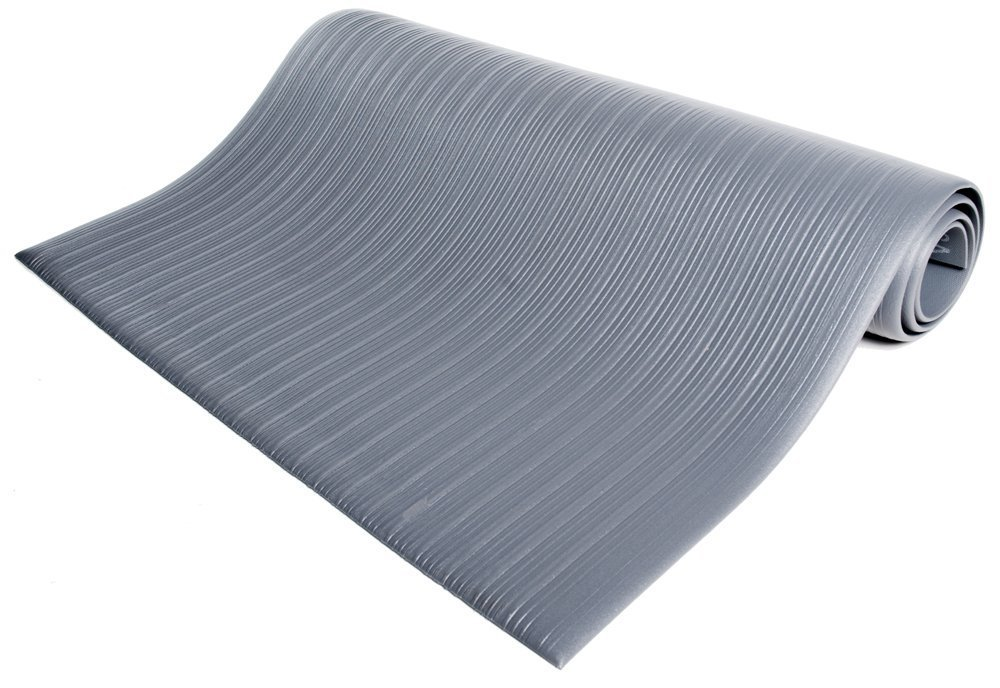 Bertech Anti Fatigue Vinyl Foam Floor Mat, 3' Wide x 10' Long x 3/8'' Thick, Ribbed Pattern, Gray (Made in USA)